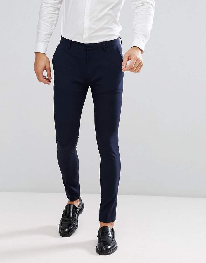 Asos Design DESIGN super skinny fit suit pants in navy