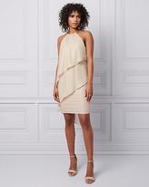 Le Château Foil Chiffon Halter Dress