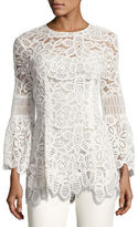Lela Rose Long-Sleeve Corded Lace Top