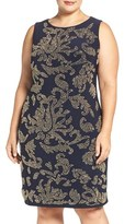 Chetta B Plus Size Women's Beaded Sleeveless Jersey Sheath Dress