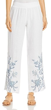 Johnny Was Maike Floral Linen Palazzo Pants