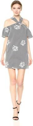 Ali & Jay Women's Floral Stripe Off Shoulder Keyhole Short Sleeve Mini Dress