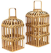 Southern Living Woven Bamboo Lantern