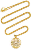 "Monica Rich Kosann 18K Yellow Gold Mercury ""Creativity"" Charm Necklace on 22"" Wheat Chain"