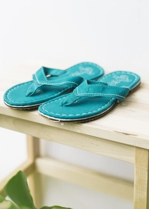 Ethletic Fair Flip Flops In Tropical Leaf - 46