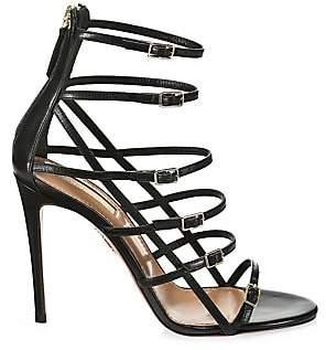 Aquazzura Women's Super Model Cage Leather Sandals