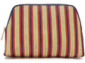 Diane von Furstenberg Leather-trimmed Striped Faux Raffia Cosmetics Case