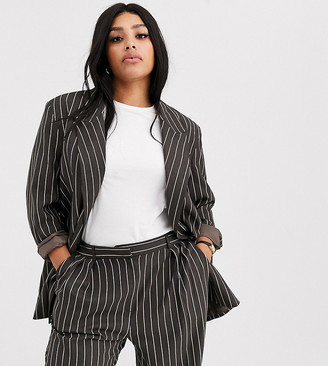 Asos DESIGN curve oversized dad suit blazer in pinstripe-Multi