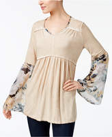 Style&Co. Style & Co Printed-Sleeve Babydoll Top, Created for Macy's
