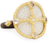 Armenta Old World Mosaic Shield Ring with Diamonds & Sapphires, Size 6.5