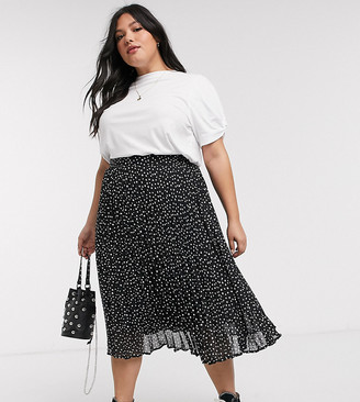 Brave Soul Plus deli pleated midi skirt in spot