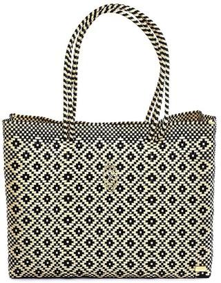 Lolas Bag Black Beige Travel Tote Bag With Clutch