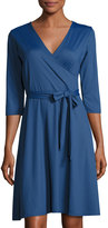 Neiman Marcus 3/4-Sleeve Solid Perfect Wrap Dress, Navy