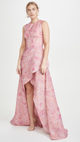 Costarellos Sleeveless Printed Organza Tulip Dress