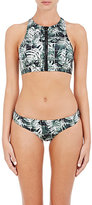 Onia WOMEN'S DEVYN JUNGLE-PATTERN BIKINI TOP-BLACK, GREEN, WHITE, NO COLOR SIZE XS