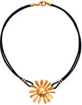 Gerard Yosca Flowerball on Leather Necklace