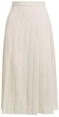 Alessandra Rich Light Wool Pleated Midi Skirt