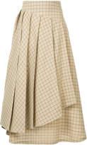 Awake checked layered skirt