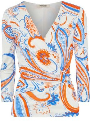 Roberto Cavalli Ring-embellished Wrap-effect Printed Stretch-jersey Top