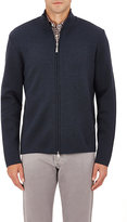 Barneys New York MEN'S KNIT MOCK TURTLENECK ZIP-FRONT SWEATER