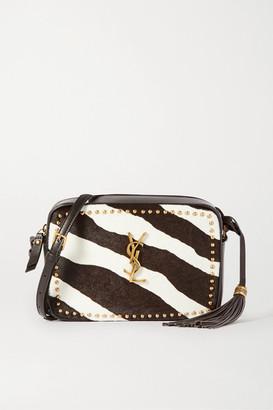 Saint Laurent Lou Studded Zebra-print Calf Hair And Leather Shoulder Bag - Brown