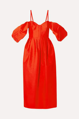 Rosie Assoulin Cold-shoulder Pleated Cotton-poplin Midi Dress - Tomato red