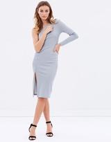 Miss Selfridge One Shoulder High-Neck Midi Dress