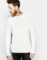Weekday Fine Crew Knit Jumper In Off White