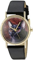 Whimsical Watches Kids' P0120037 Classic Bombay Cat Black Leather And Goldtone Photo Watch