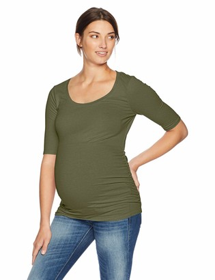 Motherhood Maternity Women's Maternity Elbow Sleeve Scoop Neck Side Ruched Tee Shirt