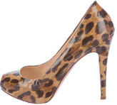 Christian Louboutin Leopard-Printed Peep-Toe Pumps
