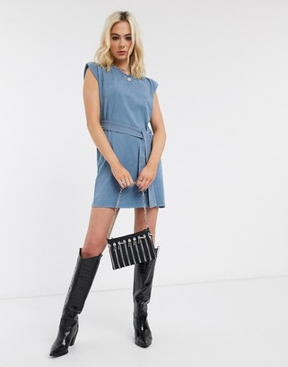 Bershka sleeveless dress with tie waist in blue