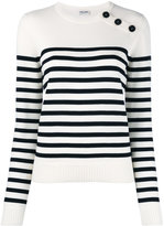 Saint Laurent striped knitted top - women - Wool - S