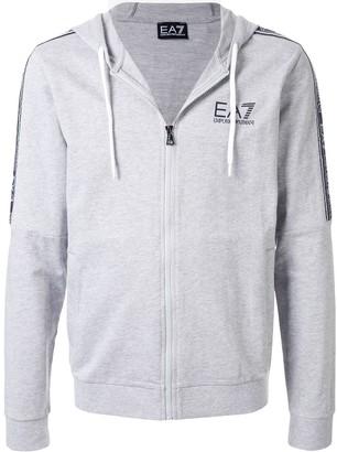 Ea7 Emporio Armani Zip-Front Logo Print Hoodie
