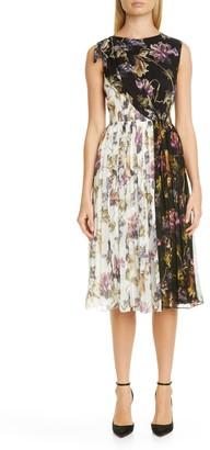Jason Wu Collection Floral Print Colorblock Crinkle Silk Chiffon Dress