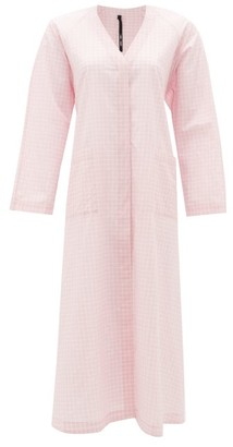 Sara Lanzi Back-ties Gingham Cotton Dress - Light Pink