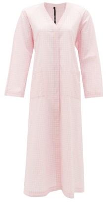 Sara Lanzi Back-ties Gingham Cotton Dress - Womens - Light Pink