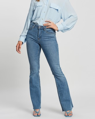 Mng Women's Blue High-Waisted - Flare Jeans - Size 32 at The Iconic