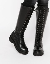 Park Lane Lace Up Chunky Leather Knee Boots