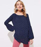 LOFT Maternity Dotted Lantern Sleeve Shirred Blouse