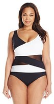 Anne Cole Women's Plus-Size Mesh-Insert Asymmetric Spliced One-Piece Swimsuit