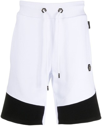 Philipp Plein Ribbed Hem Cotton Track Shorts
