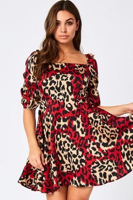 Girls On Film Faerie Red Leopard-Print Square-Neck Mini Dress