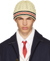 Thom Browne Off-white Chevron Cable Cricket Stripe Beanie