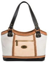 Bolo Women's Faux Leather Tote Handbag with Zip Closure - Grey