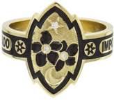 Foundrae Black Champlevé Blossom Cigar Band Ring