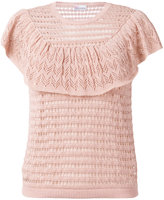 RED Valentino knitted ruffle top - women - Cotton - XS