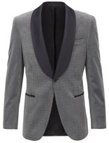 Boss Slim-fit jacket in checked cotton with silk trims