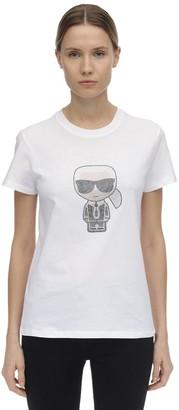 Karl Lagerfeld Paris Embellished Cotton Jersey T-shirt
