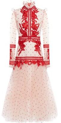 Costarellos Lace-appliqued Swiss-dot Tulle Midi Dress